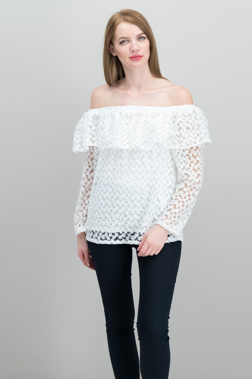 Off-The-Shoulder Lace Top, White Embroidery
