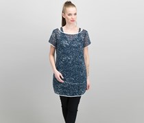 Kenneth Cole Womens Sheer Short Sleeve Tunic Top, Paint Splatter