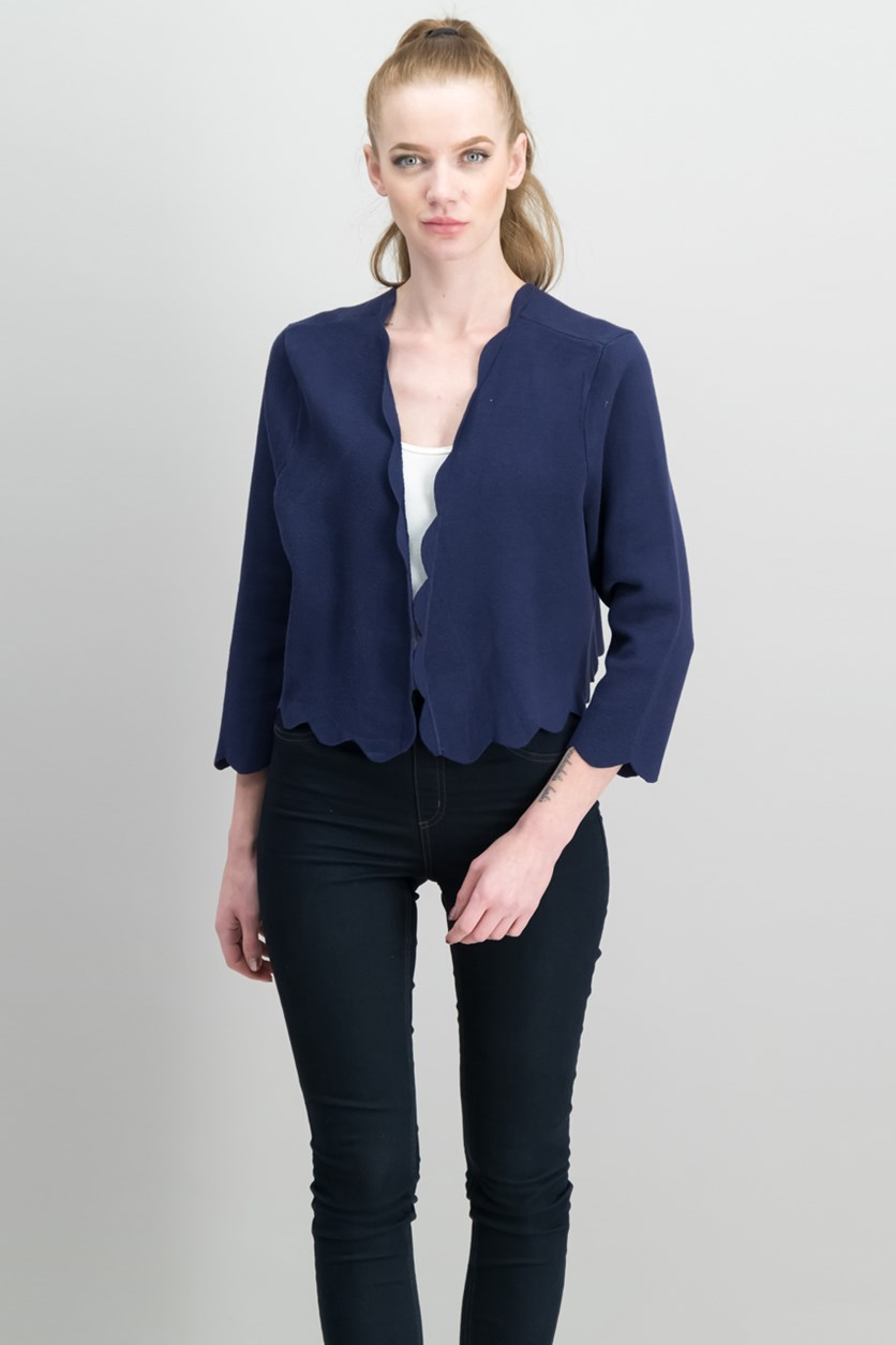 Cropped Scalloped Cardigan, Intrepid Blue