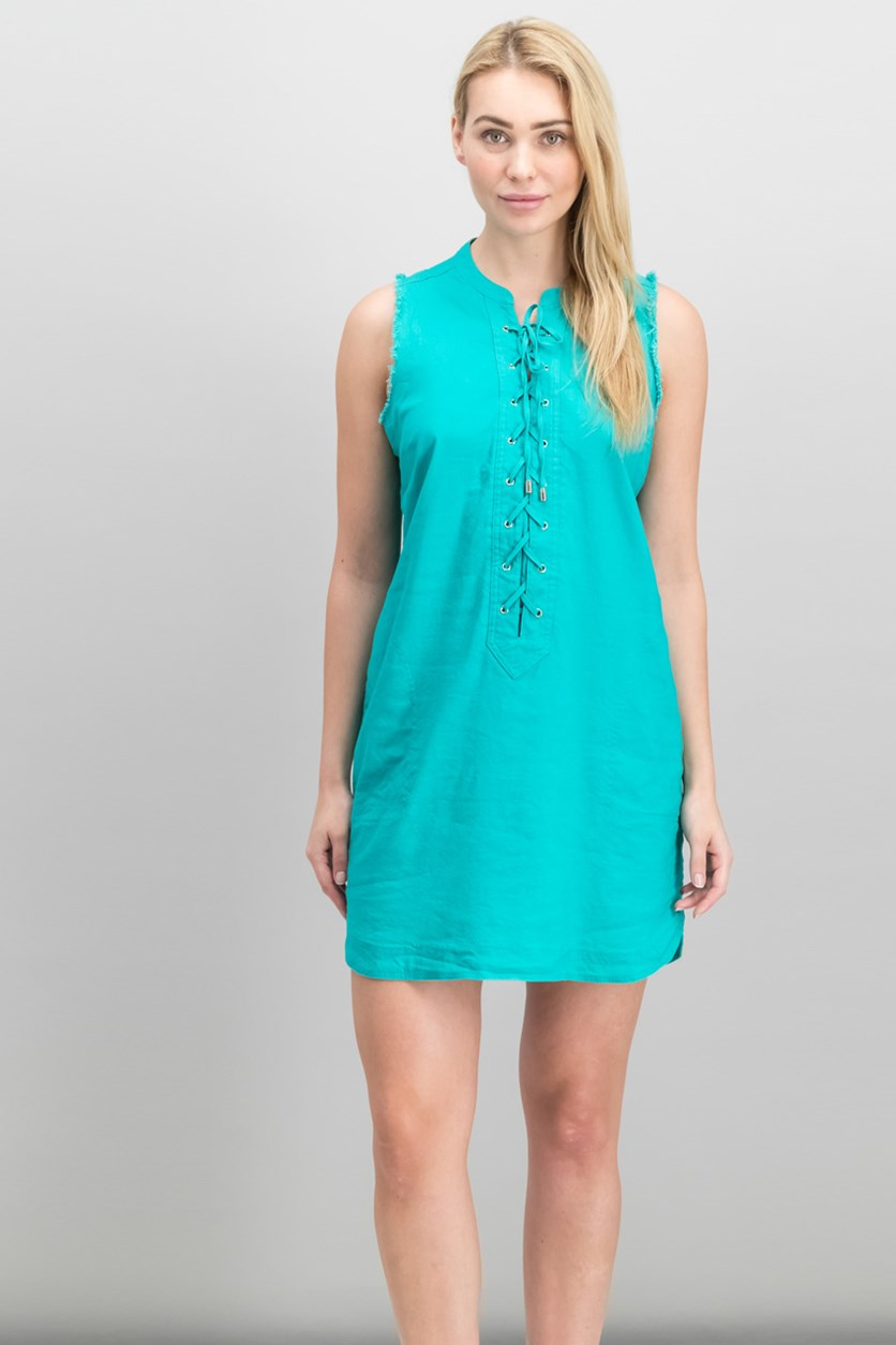 Trina Turk Women's Linen Blend Lace-Up Dress, Jade Jewel