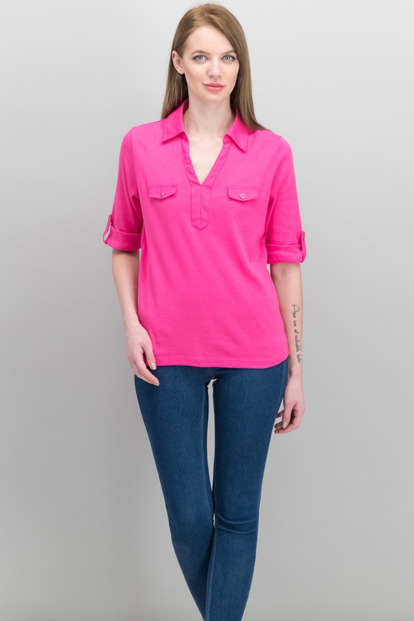 Women's Cotton Roll-Tab-Sleeve Shirt, Steel Rose