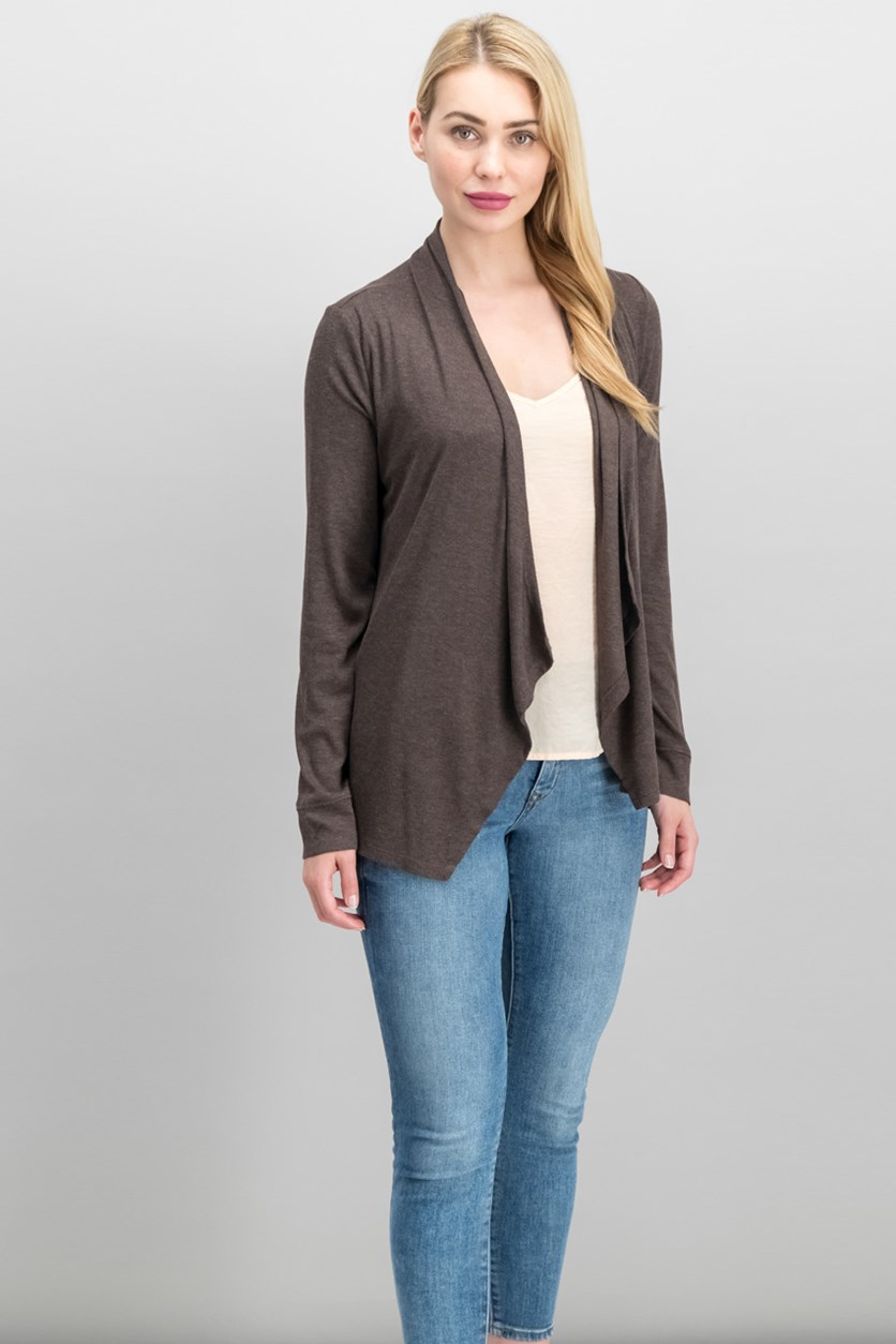 International Concepts Long-Sleeve Open-Front Cardigan, Heather Brownie