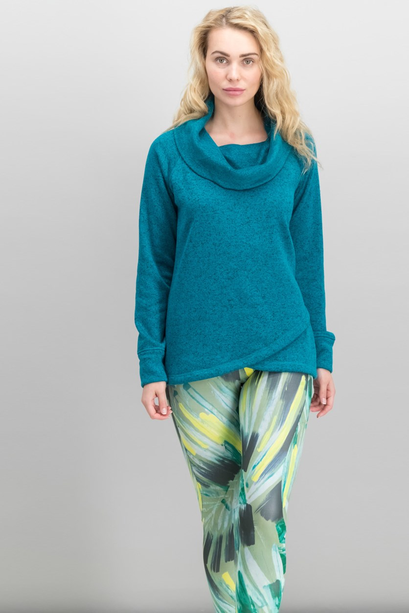 Women Cowl-Neck Cross-Over Hem Sweater, Neo Teal