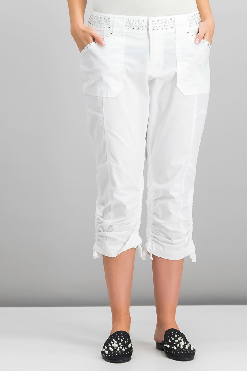 International Concepts Studded Cargo Pants, Washed White
