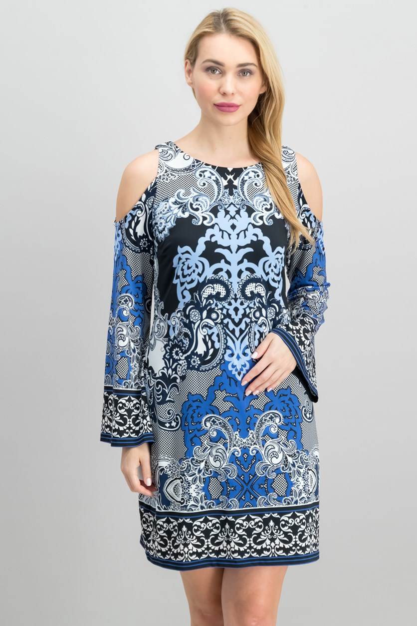 Printed Cold-Shoulder Sheath Dress, Lacey Scroll