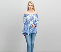 Inc International Concepts Printed Knot-Front Blouson Top, Blue Paisley