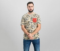 Univibe Mens Camo Pocket T-Shirt, Sand Camo