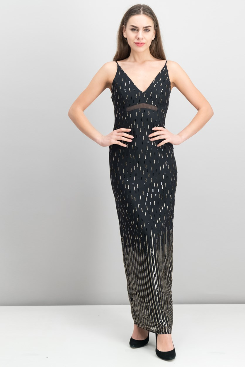 Juniors' Sequin Illusion Column Gown, Black/Gold