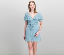 Teeze Me Juniors' Ruffled Clip-Dot Faux-Wrap Dress, Light Blue