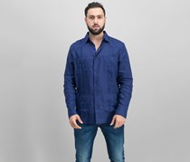 Tasso Elba Men's Linen Guayabera Shirt, Navy Blue