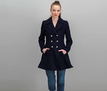 Laundry By Shelli Segal Women's Double-Breasted Skirted Peacoat, Navy