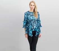 Bar III Ruffled Printed Top, Teal Glaze Combo