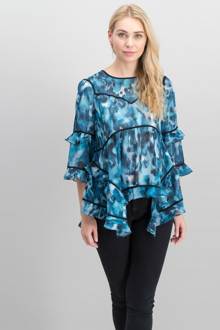 Ruffled Printed Top, Teal Glaze Combo