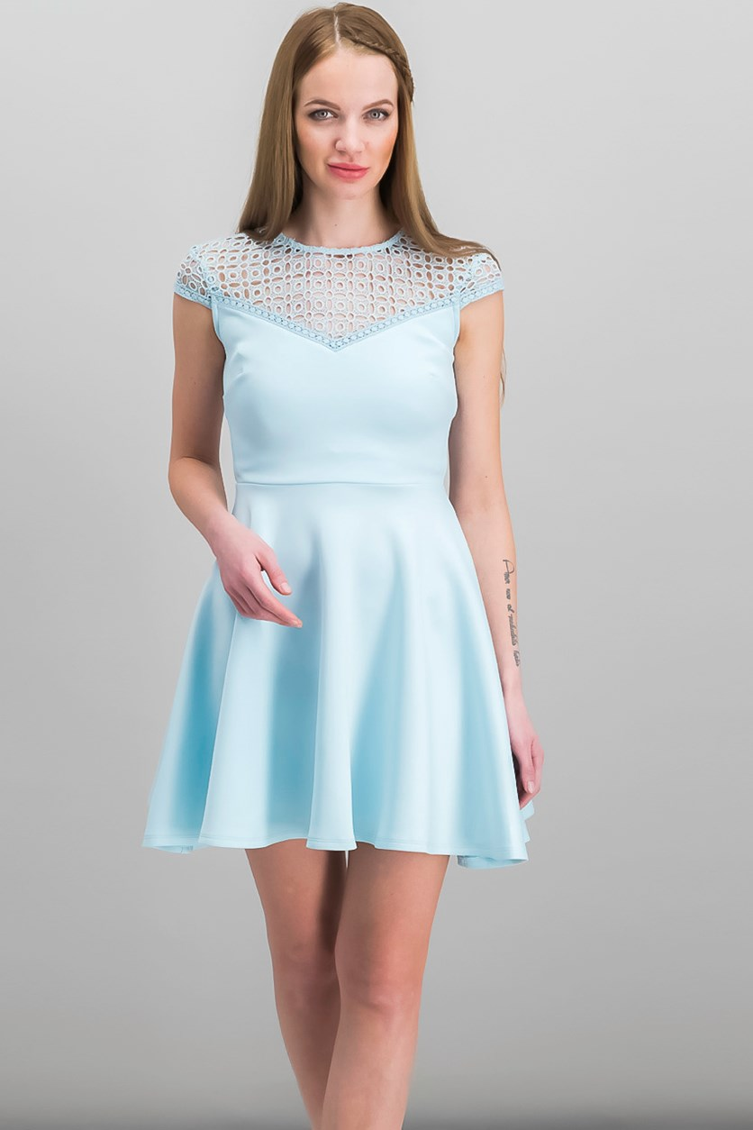 Women Juniors Crochet-Trimmed Dress, Scuba Blue