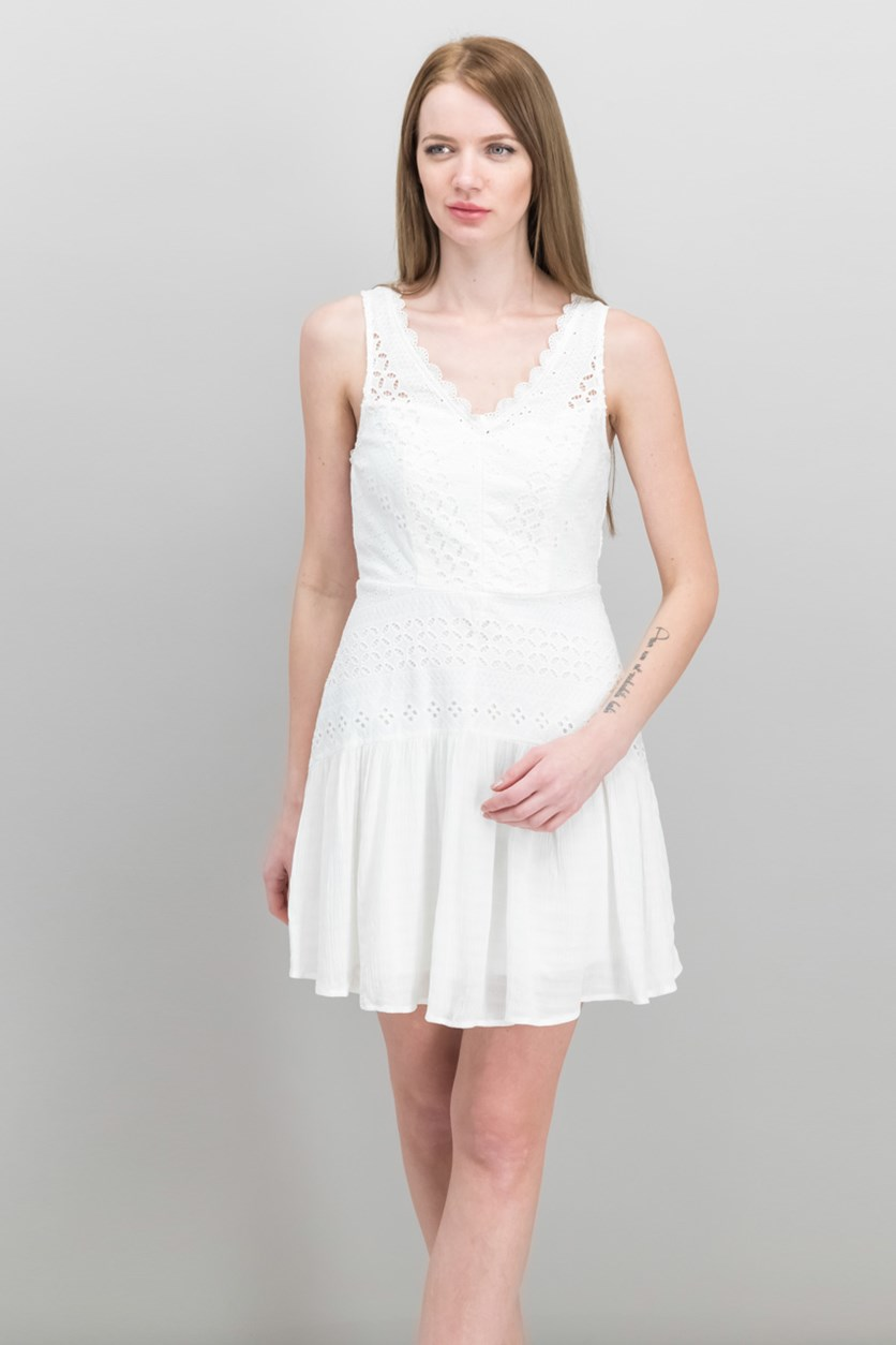 Juniors' Eyelet Dress, White