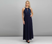 Nightway Petite Lace-Trim Illusion Halter Gown, Navy
