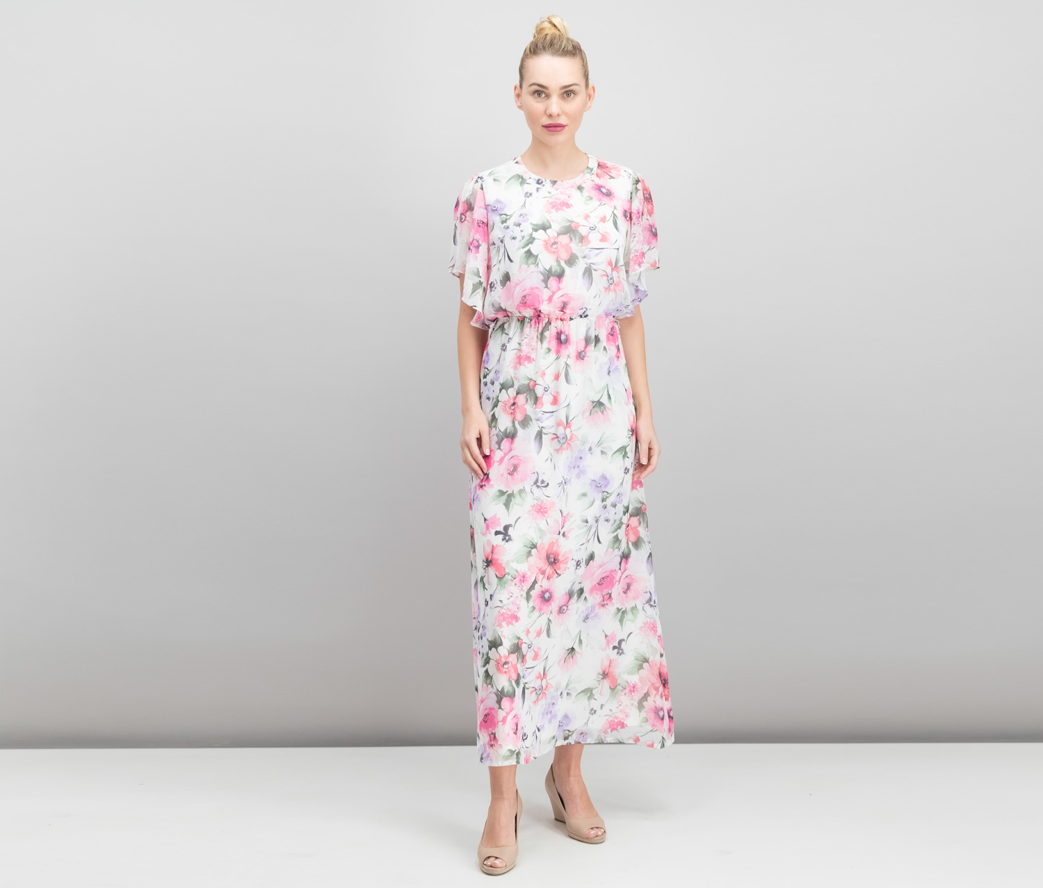 Floral Print Belted Maxi Dress, Ivory/Pink