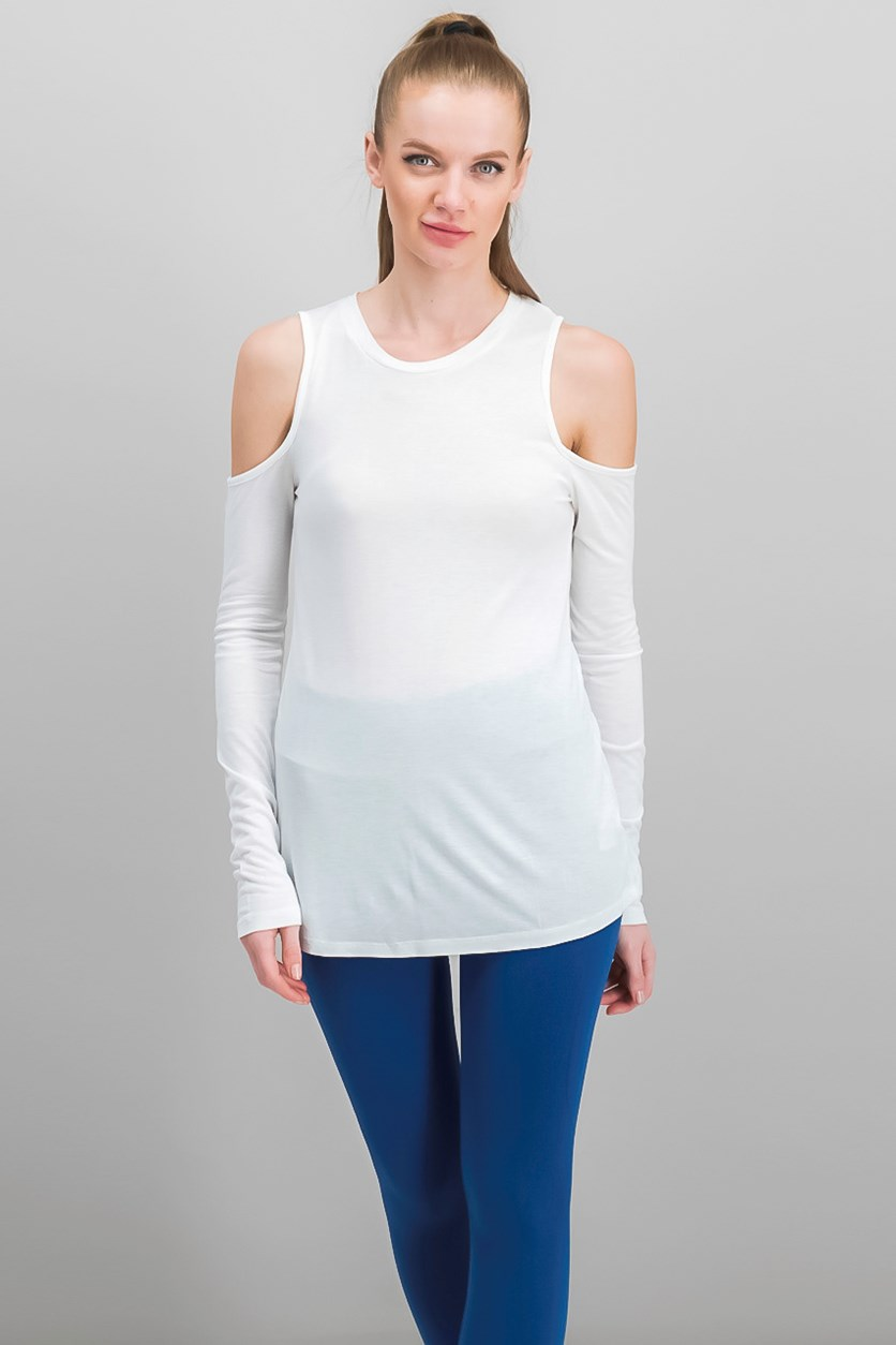 Long Sleeve Cold Shoulder Tee, White