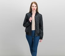 French Connection Faux-Leather Quilted Moto Jacket, Black