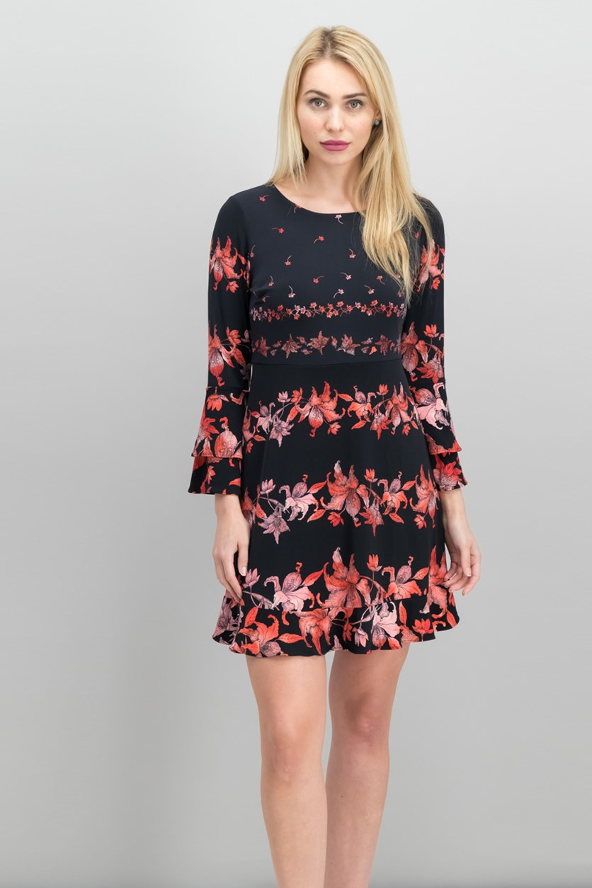 Petite Tiered-Sleeve Fit & Flare Dress, Black/Red