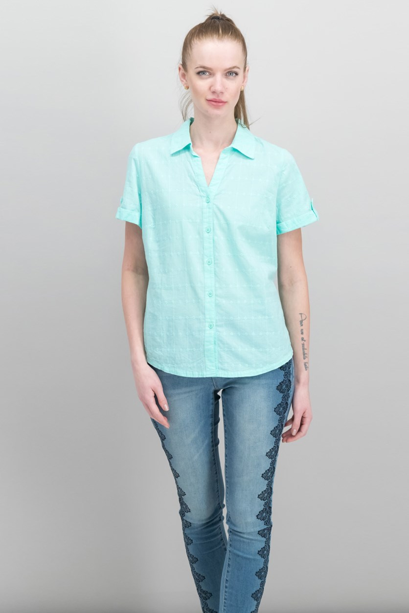 Petite Cotton Embroidered Shirt, Fresh Spearmint
