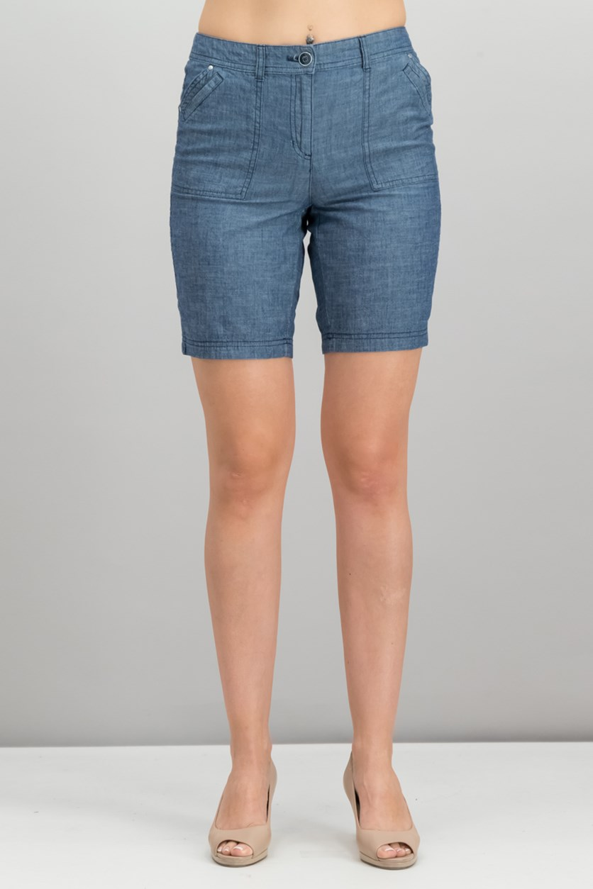 Petite Cotton Shorts, Chambray