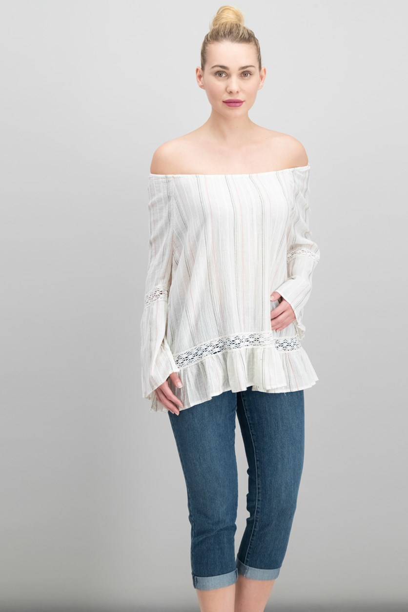 Women Cotton Off-The-Shoulder Top, Bailey Stripe