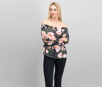 Floral-Print Off-The-Shoulder Top, Dusty Olive