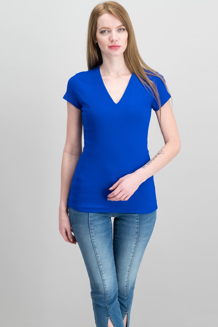 International Concepts Ribbed Short-Sleeve V-Neck Top, Bright Blue
