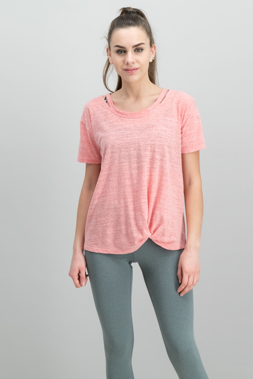 Cutout High-Low T-Shirt, Smoked Salmon