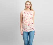 Petite Printed Tiered Asymmetrical Top, Pink Blossom