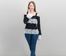 Inc International Concepts Lace-Trim Pointelle-Sleeve Tops, Black