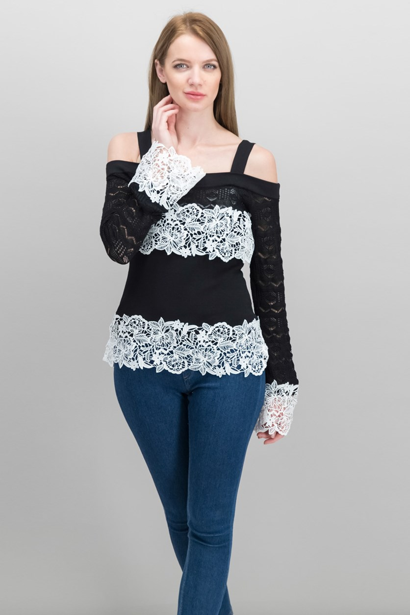 International Concepts Lace-Trim Pointelle-Sleeve Tops, Black