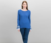 International Concepts Striped Bell-Sleeve Sweater, Sail Blue