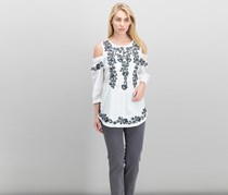 Charter Club Embroidered Cold-Shoulder Tunic, Bright White