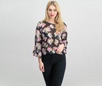 Inc International Concepts Ruffled Floral-Print Top, Lily Bouquet