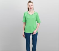 Karen Scott Cotton Embellished T-Shirt, Green Meadow