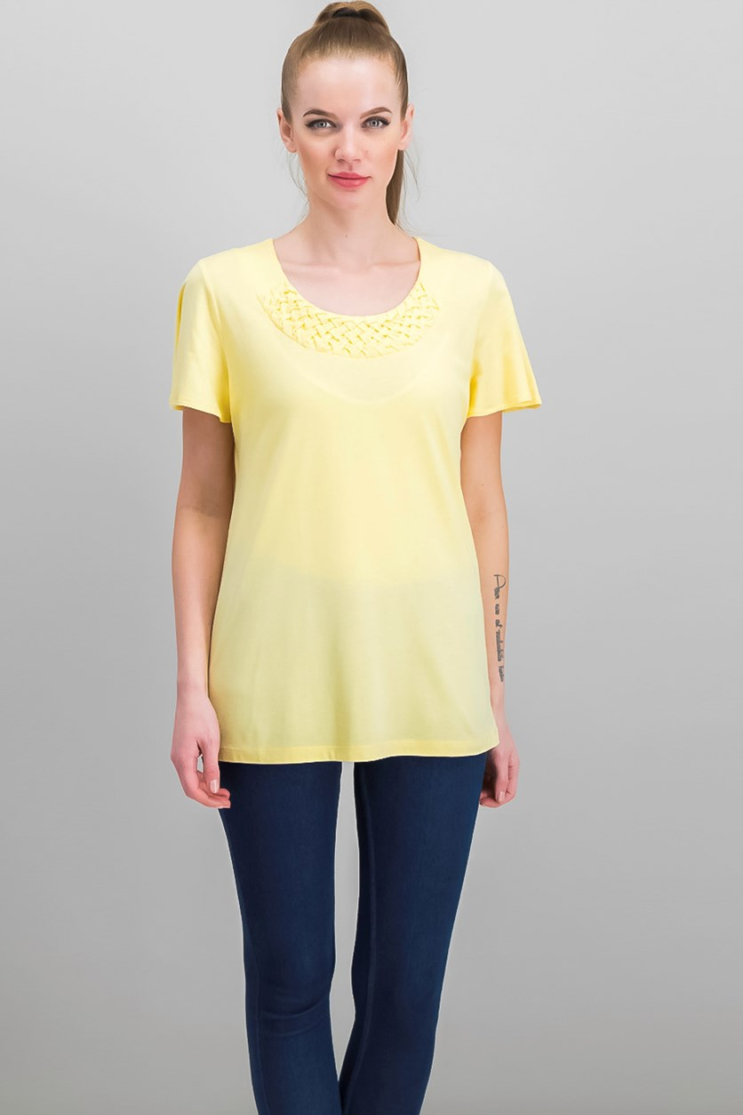 Woven Scoop-Neck Top, Lemon Sugar