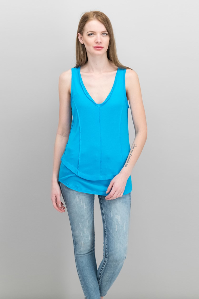 Women's Ribbed Layered-Look V-Neck Top, Triton Blue