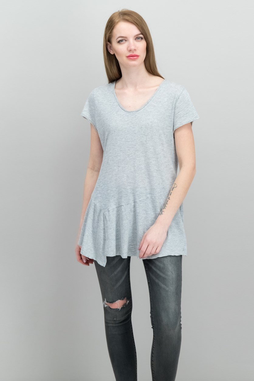 Women's Cotton Peplum-Hem T-Shirt, Light Grey Heather