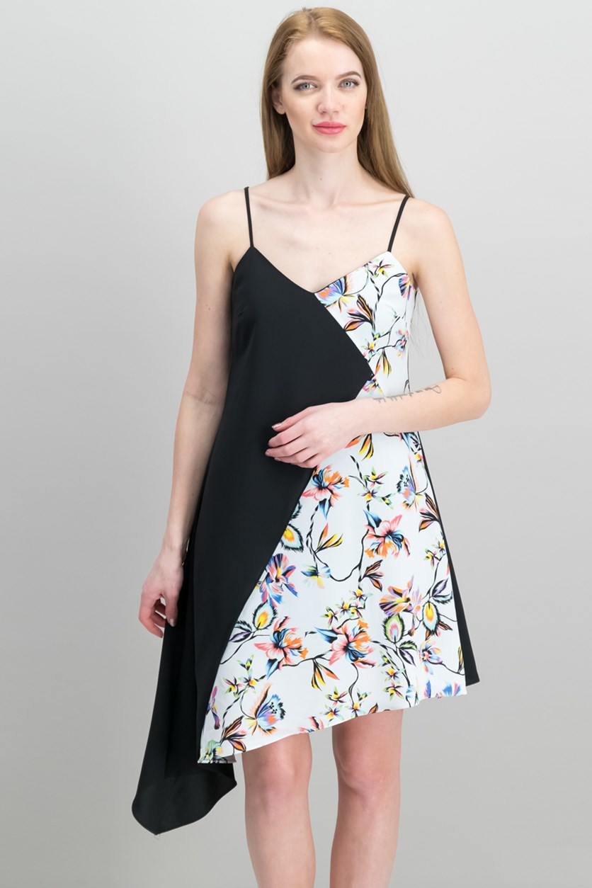 Colorblocked Sleeveless Asymmetrical Dress, White/Black