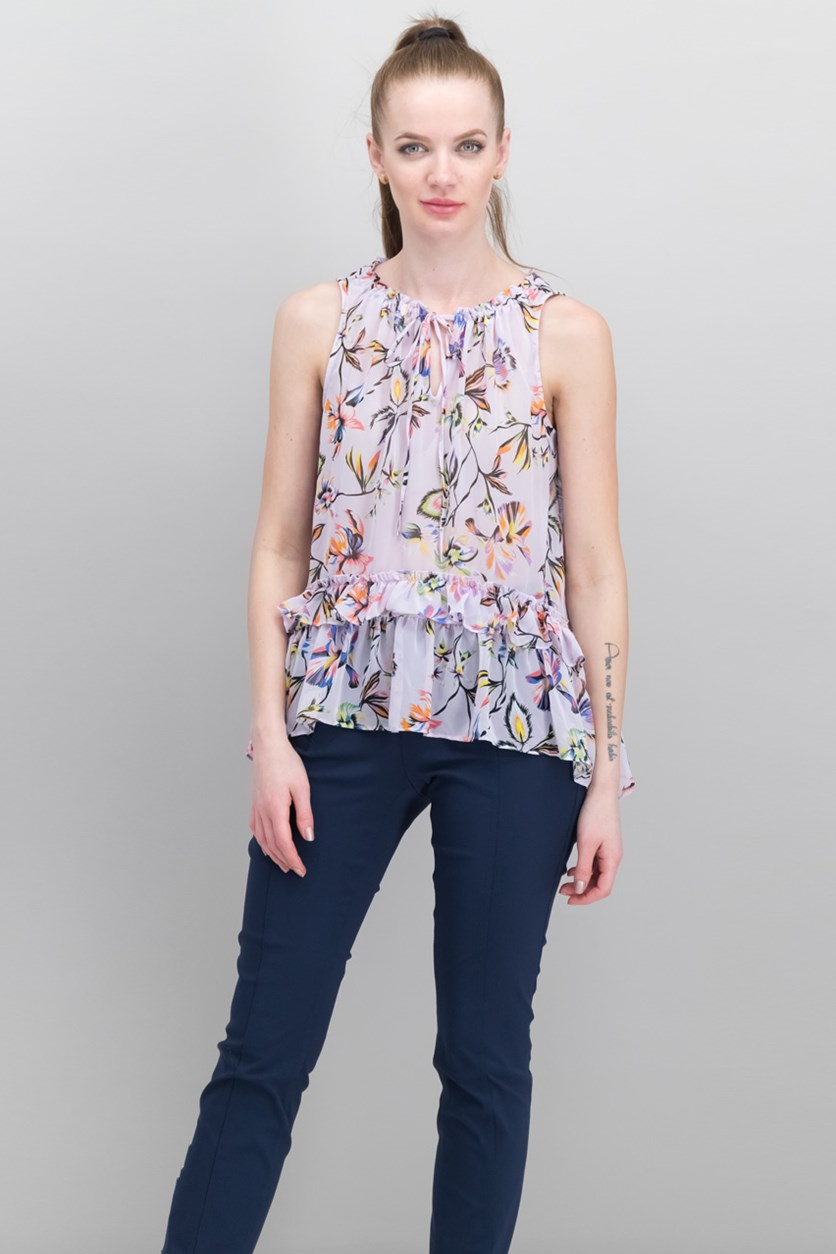 Printed Ruffled High-Low Top, Prism Lily