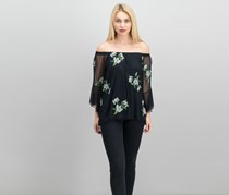 Thalia Sodi Embroidered-Mesh Off-The-Shoulder Top, Black Combo