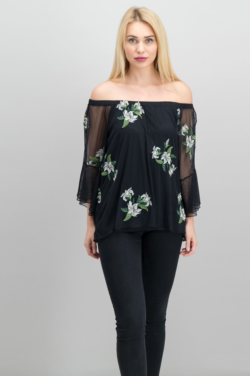 Embroidered-Mesh Off-The-Shoulder Top, Black Combo