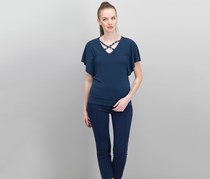 Petite Cross-Neck Butterfly-Sleeve Top, Intrepid Blue