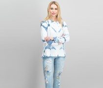 Style & Co Women's Cotton Tie-Dyed Sweatshirt, White/Blue
