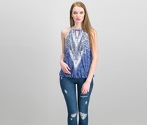 INC International Concepts Printed Keyhole Top,  Bright Blue