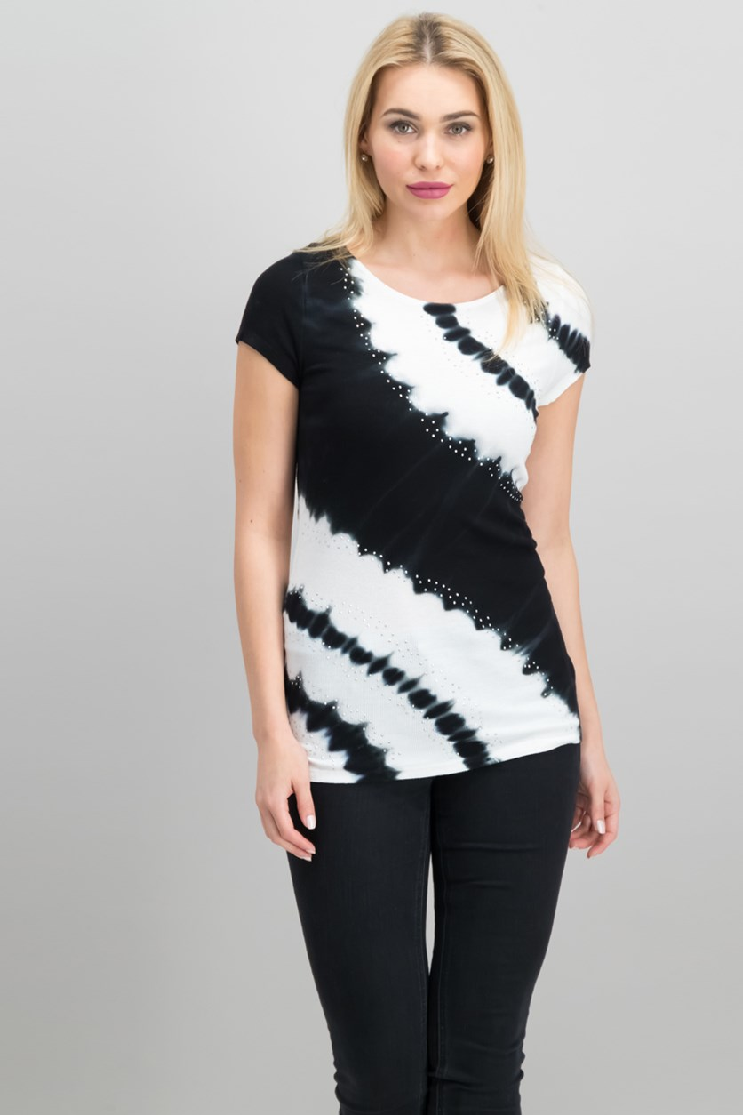 International Concepts Tie-Dyed Studded Top,  Deep Black