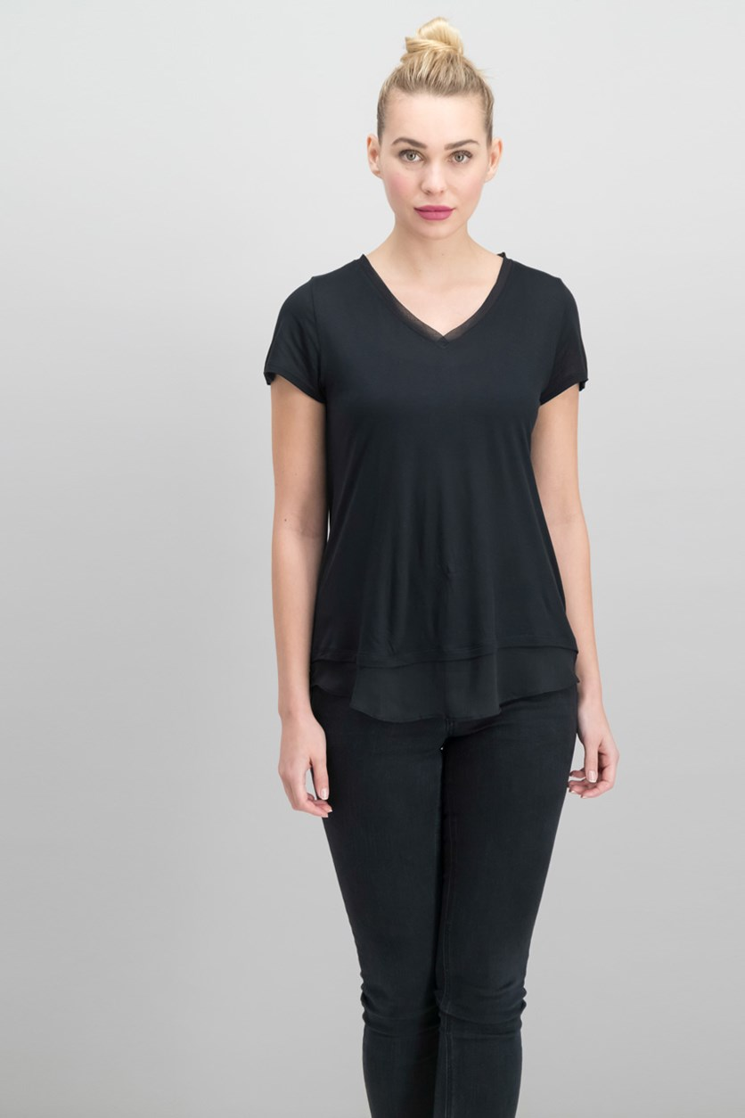 International Concepts Petite Sheer-Hem Top, Deep Black