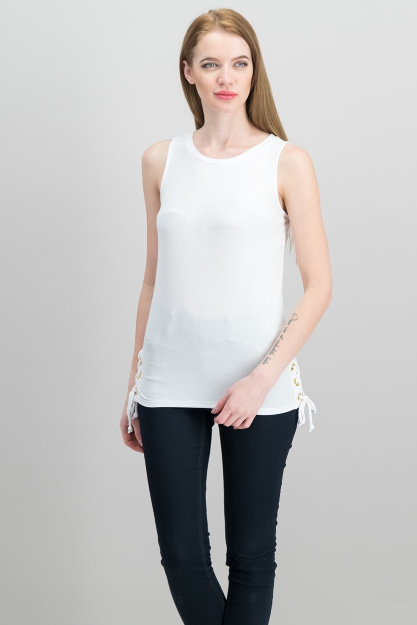 International Concepts Lace-Up Tank Top, Bright White